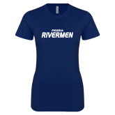 Next Level Ladies SoftStyle Junior Fitted Navy Tee-Peoria Rivermen