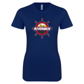 Next Level Ladies SoftStyle Junior Fitted Navy Tee-Primary Mark Distressed
