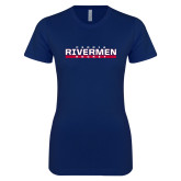 Next Level Ladies SoftStyle Junior Fitted Navy Tee-Peoria Rivermen Hockey