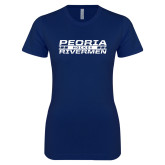 Next Level Ladies SoftStyle Junior Fitted Navy Tee-Peoria Rivermen Hockey Stacked