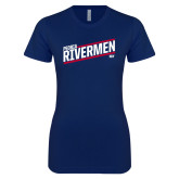Next Level Ladies SoftStyle Junior Fitted Navy Tee-Peoria Rivermen HKY