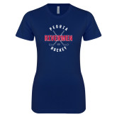 Next Level Ladies SoftStyle Junior Fitted Navy Tee-Crossed Sticks