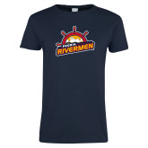 Ladies Navy T Shirt-Peoria Rivermen Secondary Mark
