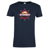 Ladies Navy T Shirt-Primary Mark Distressed