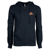 ENZA Ladies Navy Fleece Full Zip Hoodie-Peoria Rivermen Secondary Mark