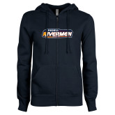 ENZA Ladies Navy Fleece Full Zip Hoodie-Peoria Rivermen - Hockey Stick