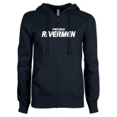 ENZA Ladies Navy Fleece Full Zip Hoodie-Peoria Rivermen