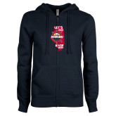 ENZA Ladies Navy Fleece Full Zip Hoodie-Lets go Rivermen in State