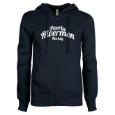 ENZA Ladies Navy Fleece Full Zip Hoodie-Peoria Rivermen Script