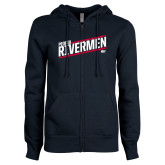 ENZA Ladies Navy Fleece Full Zip Hoodie-Peoria Rivermen HKY