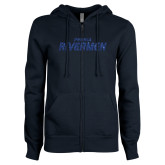 ENZA Ladies Navy Fleece Full Zip Hoodie-Peoria Rivermen Dark Blue Glitter