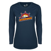 Ladies Syntrel Performance Navy Longsleeve Shirt-Peoria Rivermen Secondary Mark