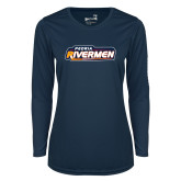Ladies Syntrel Performance Navy Longsleeve Shirt-Peoria Rivermen - Hockey Stick