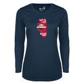 Ladies Syntrel Performance Navy Longsleeve Shirt-Lets go Rivermen in State