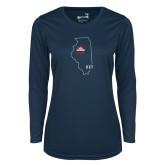 Ladies Syntrel Performance Navy Longsleeve Shirt-State Outline HKY