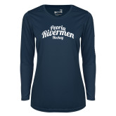 Ladies Syntrel Performance Navy Longsleeve Shirt-Peoria Rivermen Script