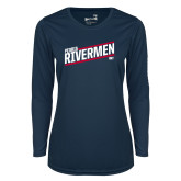 Ladies Syntrel Performance Navy Longsleeve Shirt-Peoria Rivermen HKY