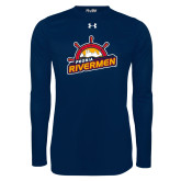 Under Armour Navy Long Sleeve Tech Tee-Peoria Rivermen Secondary Mark