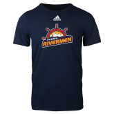 Adidas Navy Logo T Shirt-Peoria Rivermen Secondary Mark