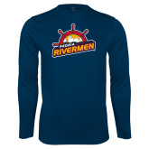 Performance Navy Longsleeve Shirt-Peoria Rivermen Secondary Mark