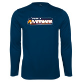 Performance Navy Longsleeve Shirt-Peoria Rivermen - Hockey Stick