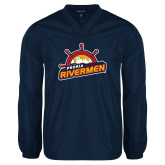 V Neck Navy Raglan Windshirt-Peoria Rivermen Secondary Mark
