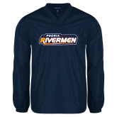 V Neck Navy Raglan Windshirt-Peoria Rivermen - Hockey Stick
