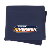 Navy Sweatshirt Blanket-Peoria Rivermen - Hockey Stick