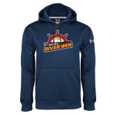 Under Armour Navy Performance Sweats Team Hoodie-Peoria Rivermen Secondary Mark