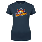 Ladies Syntrel Performance Navy Tee-Peoria Rivermen Secondary Mark