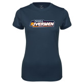 Ladies Syntrel Performance Navy Tee-Peoria Rivermen - Hockey Stick