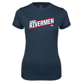 Ladies Syntrel Performance Navy Tee-Peoria Rivermen HKY