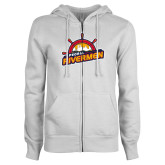 ENZA Ladies White Fleece Full Zip Hoodie-Peoria Rivermen Secondary Mark
