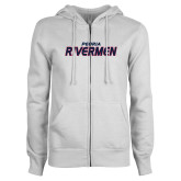 ENZA Ladies White Fleece Full Zip Hoodie-Peoria Rivermen
