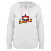 ENZA Ladies White V Notch Raw Edge Fleece Hoodie-Peoria Rivermen Secondary Mark
