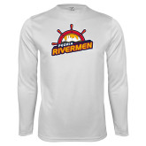 Performance White Longsleeve Shirt-Peoria Rivermen Secondary Mark