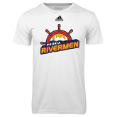 Adidas Climalite White Ultimate Performance Tee-Peoria Rivermen Secondary Mark