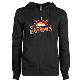 ENZA Ladies Black Fleece Full Zip Hoodie-Peoria Rivermen Secondary Mark