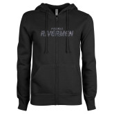 ENZA Ladies Black Fleece Full Zip Hoodie-Peoria Rivermen Graphite Soft Glitter