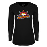 Ladies Syntrel Performance Black Longsleeve Shirt-Peoria Rivermen Secondary Mark