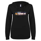 ENZA Ladies Black V Notch Raw Edge Fleece Hoodie-Peoria Rivermen - Hockey Stick