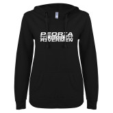 ENZA Ladies Black V Notch Raw Edge Fleece Hoodie-Peoria Rivermen Hockey Stacked