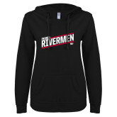 ENZA Ladies Black V Notch Raw Edge Fleece Hoodie-Peoria Rivermen HKY