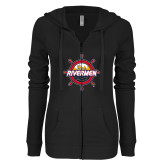 ENZA Ladies Black Light Weight Fleece Full Zip Hoodie-Primary Mark