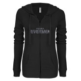 ENZA Ladies Black Light Weight Fleece Full Zip Hoodie-Peoria Rivermen Graphite Soft Glitter