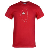 Red T Shirt-State Outline HKY