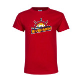 Youth Red T Shirt-Peoria Rivermen Secondary Mark