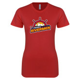 Next Level Ladies SoftStyle Junior Fitted Red Tee-Peoria Rivermen Secondary Mark