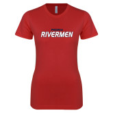Next Level Ladies SoftStyle Junior Fitted Red Tee-Peoria Rivermen
