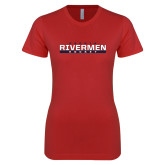 Next Level Ladies SoftStyle Junior Fitted Red Tee-Peoria Rivermen Hockey